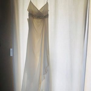 NWT BCBGMAXAZRIA Off white CHIFFON evening gown.